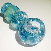 Blue Green Glitter and Liquid filled glass pipe