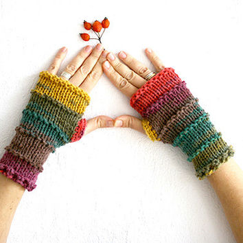 Knit fingerless glove mittens, Color block Knit arm warmers, Knit wrist warmers, Wool knit fingerless glove, Knitted glove mitten