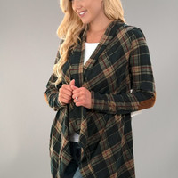 Plaid Cardigan with Elbow Patches - Olive