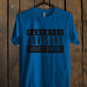Parental advisory explicit content Blue Mens T Shirt **