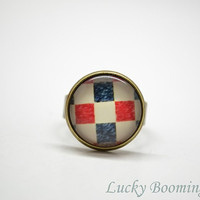 Quadrille Fabric Pattern Ring - Square Glass Art adjustable Ring Photo Glass Cabochon R12
