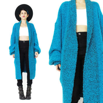 1980s Sweater Coat Chunky Knit Duster Cardigan Slouchy Oversize Sweater Boucle Knitted Cocoon Cardigan Open Front Teal Green Pockets (L/XL)