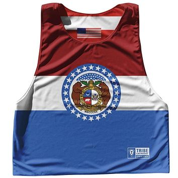 Missouri State Flag and American Flag Reversible Lacrosse Pinnie