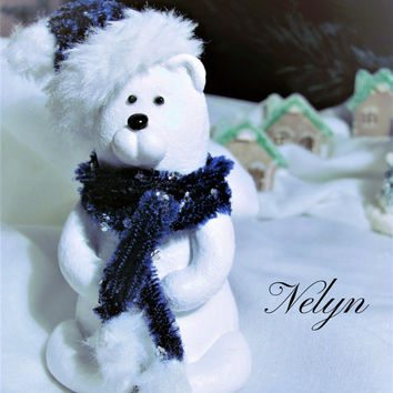 White bear, Polar bear, Christmas bear, Gift for kids, Christmas Gift Idea, Home Decor, Mr Cutie, Christmas ornaments, Christmas Gift