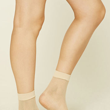 Metallic Fishnet Crew Socks
