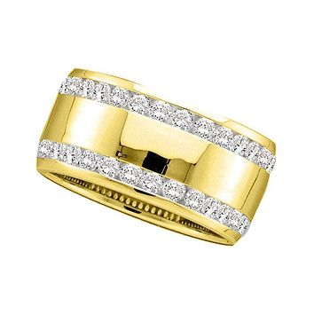 14kt Yellow Gold Women's Round Channel-set Diamond Double Row Wedding Band 1.00 Cttw - FREE Shipping (US/CAN)