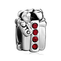 Pugster Red Crystal Gifts Box Charm Bead Fits Pandora Bracelet