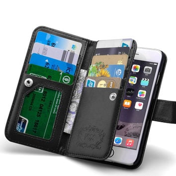 Women Hand Wallet Phone Cases For Iphone 6 5.5 Luxury Flip PU Leather Case For Iphone 6 Plus 5.5inch ID Credit Card Slot Cover