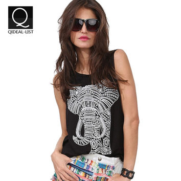 Qideal-L New Hand Painted Elephant Tropical Print Sleeveless T Shirt Summer Camisole Loose Casual Tops Vest Women's Tanks
