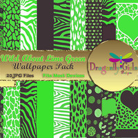80% OFF Sale WILDAbout Lime Green Black Paper packs, commercial use, digital scrapbook papers, vector graphics, printable,Instant Download