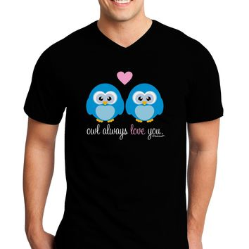 Owl Always Love You - Blue Owls Adult Dark V-Neck T-Shirt by TooLoud