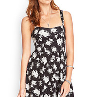 FOREVER 21 Cutout-Back Rose Print Dress