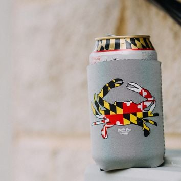 Maryland Full Flag Crab (Grey) / Koozie