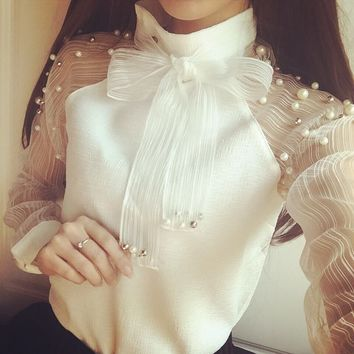 Spring Elegant Organza Bow Of Pearl White Blouse Casual Fashion Shirt Chiffon Shirt Women Blouses Tops Blusas Femininas Dy 170