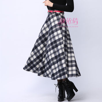 2016 Winter Ukraine Plaid Woolen Skirt Women Thick Warm Long Skirts High Waist Pleated Maxi Skirt With Sashes Size XXL XXXL