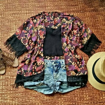 Zen Floral Kimono Cardigan with Fringed in Black Festival Hippies Gypsy Styles fabric Beach Cover Up Jacket Summer Bohemian women fashion