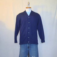 Vintage 60s STYLISH CARDIGAN Navy Blue Button Up Acrylic Wool Medium Heavy Classic Sweater