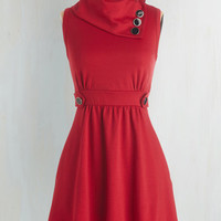 Nautical Mid-length Sleeveless A-line Coach Tour Dress in Rouge