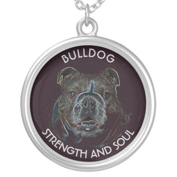 Abstract Psychedelic Dark Bulldog Drawing Round Pendant Necklace