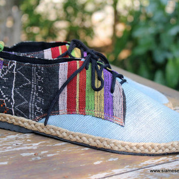 Men's Shoes Vegan Oxfords In Colorful Laos Tribal Embroidery  &  Natural Hemp 8