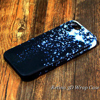 Blue Glitter Star Falling 3D-Wrap iPhone 5S Case iPhone 5 Case iPhone 5C Case iPhone 4S Case iPhone 4 Case