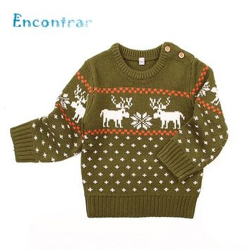 Encontrar Baby Deer Pattern Winter Knitted Clothes Boys/Girls O-Neck Pullovers Sweaters Newborn Kids Dot Jumper 6M-24M,DC509