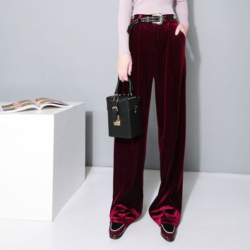 [TWOTWINSTYLE] 2016 Fashion Velvet High Waist Wide Leg Pants Women Autumn Winter New Trousers Clothing