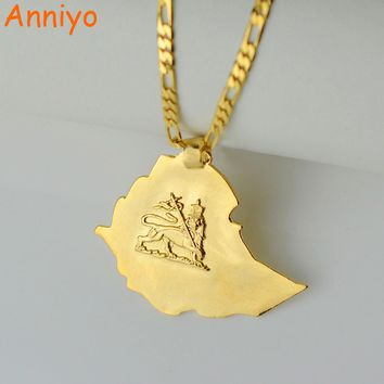 Anniye Ethiopian Map Pendant Necklaces Chain Women Men Gold Color Jewelry Africa Ethiopia lion Necklace Maps #004201