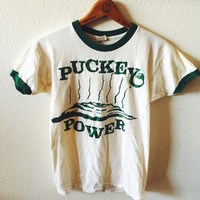 Vintage, Puckey Power, Ringer, Tee Shirt, Unisex Fashion, Hipster, Size Small