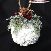 Snowball Ornament with Greens and Berries - Christmas Ornament, Co-Worker Gift, Ornament Exchange Gift