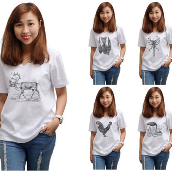 Women Animals Hand Drawing-4 Printed V-Neck Short Sleeve T-shirt WTS_16