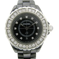 CHANEL J12 Large Bezel Diamond Watch H 2427 Quartz Black Ceramic
