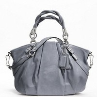 Coach Madison Pleated Leather Sophia Handbag Purse Slate Blue 22563