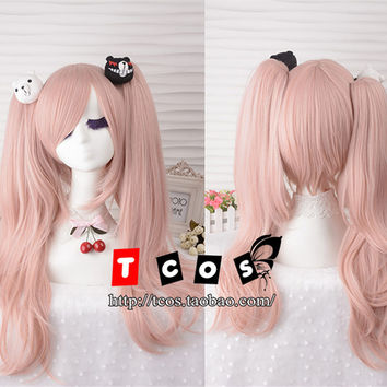 Top Quality Junko Enoshima Light Pink Cosplay Wig Danganronpa Dangan Ronpa Hair Ponytail Wigs