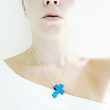 Sideways Cross Necklace - Hand Painted Ombre Monaco Blue - Wooden Cross Jewelry Hand Painted Pendant Necklace