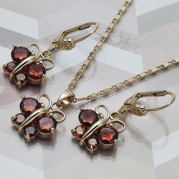 Gold Layered Women Butterfly Necklace and Earring, with Garnet Cubic Zirconia, by Folks Jewelry