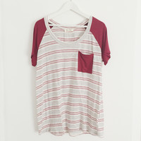 Izabella Striped Pocket Tee (Burgundy)