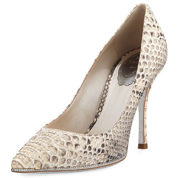 Rene Caovilla Crystal-Trim Python 100mm Pump