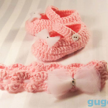 Elegant Pink Crochet Baby Shoes,  Crochet Baby Headband Set, Crochet Baby Booties,  Crochet Baby Clothing, Baby Shower Gift ,Newborn Shoes