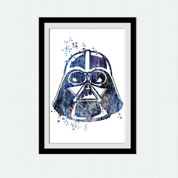 Darth Vader Star Wars watercolor art print Star Wars colorful print Darth Vader poster Home decoration Kids room art Wall decor blue W518