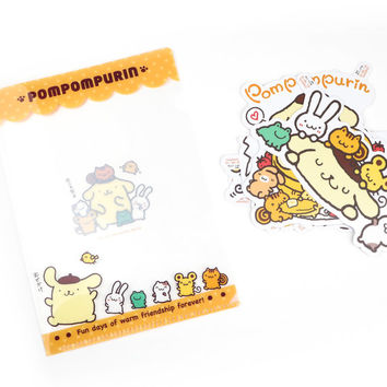 Pompompurin Stickers with File Folder