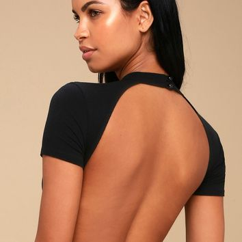 Jorma Black Ribbed Mock Neck Backless Bodysuit