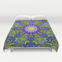 Peacock colors botanical mandala Duvet Cover by RVJ Designs