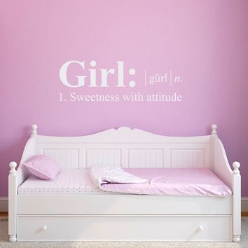 Girl Definition Wall Decal - Dictionary definition Decal - Girl Bedroom Wall Decal - Large