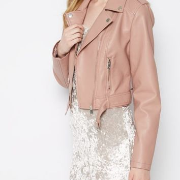 Pink Belted Crop Moto Jacket