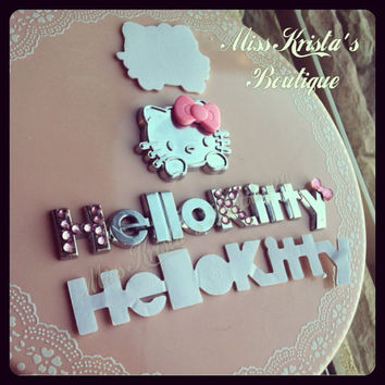 Hello kitty car sticker car decal bling bows rhinestones cute girls gift