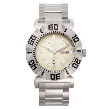 Croton Mens Stainless Steel Ivory Automatic Watch