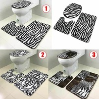 2017 New 3PCS Lid Toilet Seat Cover Pedestal Rug Bathroom Mat Carpet for Household Car Seat