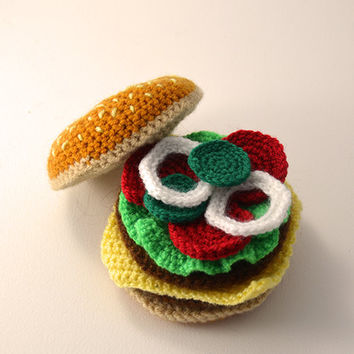 Hamburger - Cheeseburger - Bun - Toy Food - Play Kitchen - Amigurumi - CROCHET PATTERN No.73