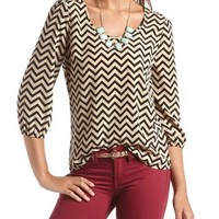 Stud Shoulder Zigzag Top: Charlotte Russe